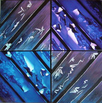 """""""éphémère"""" - 2 toiles et 2 photos de 30X30 - photos de Laurent SAURET - 2011"""
