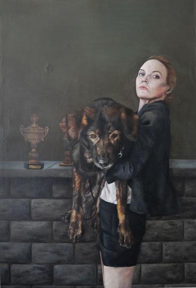 Im Straßenkampf zu wenig. Im Schützengraben zuhause . 2016 . 160x110 . oil on canvas