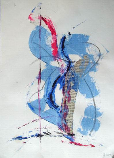 Blau (2014), Mischtechnik auf Aquarellpapier