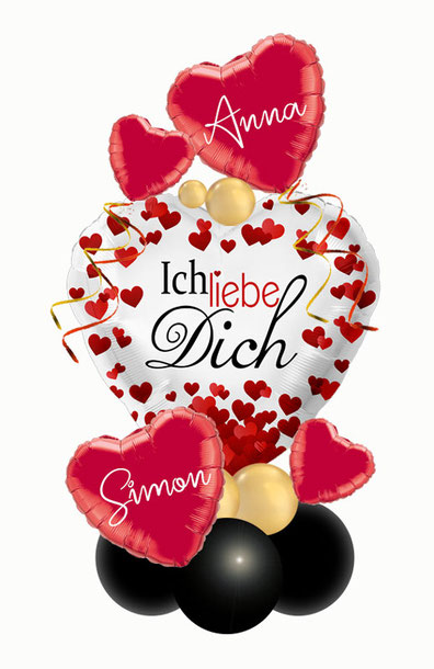 Ballon Luftballon Valentinstag Ich liebe dich außergewöhnlich Geschenk Ballongeschenk Herz  personalisiert Personalisierung mit Namen Versand Überraschung Dekoration Deko Liebe Liebesbeweis  Heiratsantrag Geburtstag ohne Helium