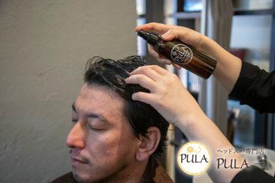 養毛や保水、保湿効果の高い頭皮用ローション男性シーン