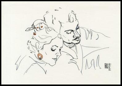 Paar Portrait Zeichnung