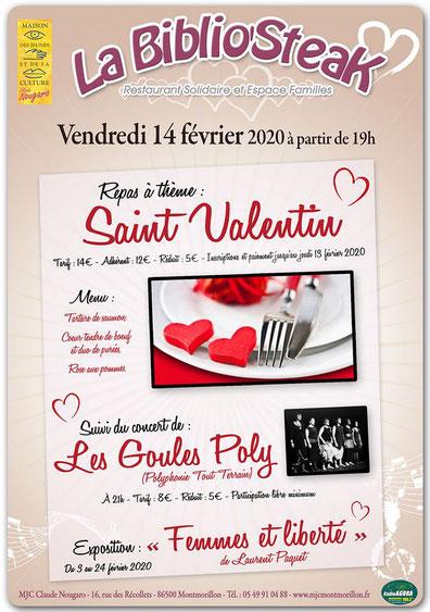 Les Goules Poly en concert pour la Saint Valentin à la MJC de Montmorillon le 14 février 2020
