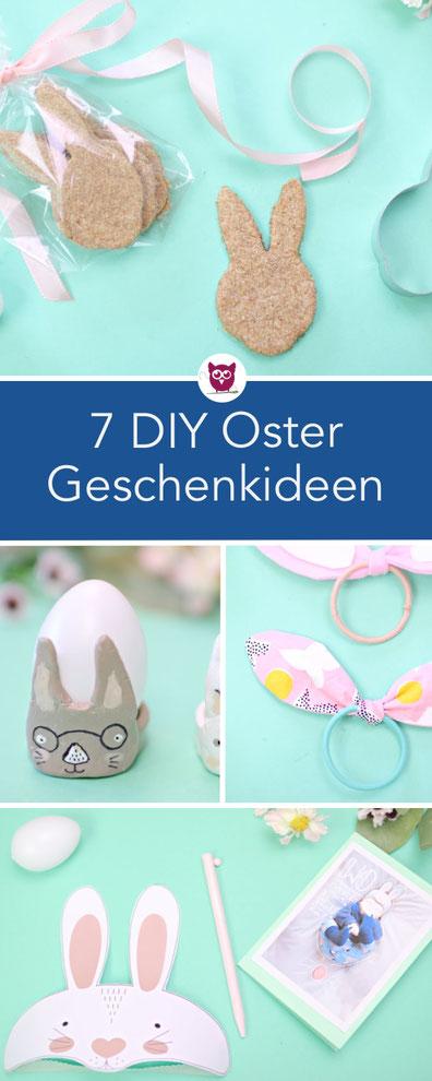 7 DIY Geschenkideen für Ostern: Ostergeschenke selber basteln mit Kindern. Nähen für Ostern. FIMO, Osterkarte, Haargummi mit Schleifen,  Osterplätzchen / Kekse für Babys, Popcorn Pouch. Anleitungen von DIY Eule.