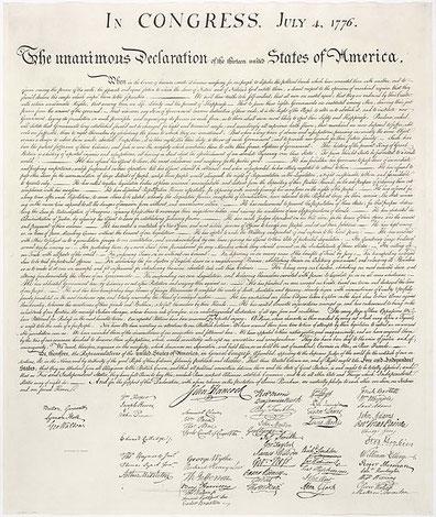Declaración de Independencia de Estados Unidos frente al Reino de Gran Bretaña.