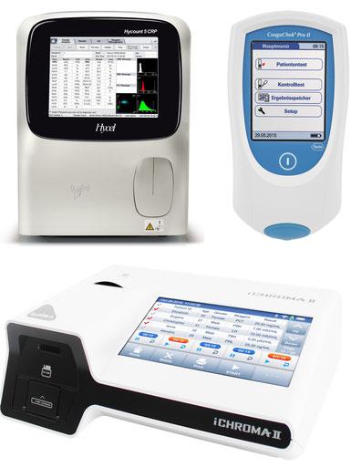 Unsere modernen Geräte: Hycount 5CRP, Coagu Check Pro II und iChroma II, Vergrößern: Klick!