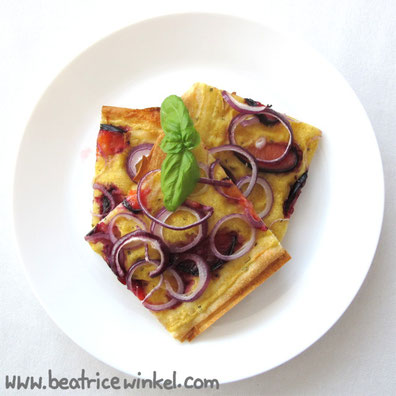 Beatrice Winkel - plum onion tarte flambee