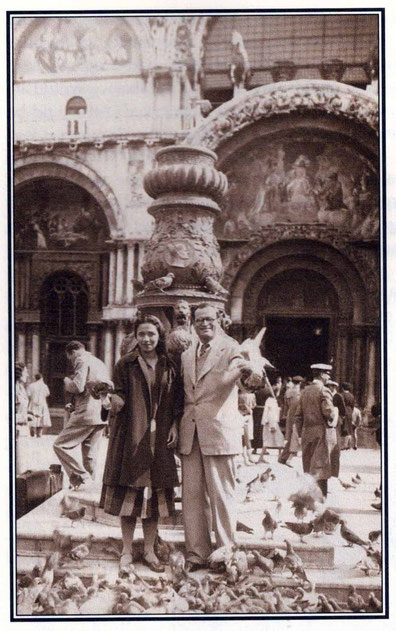 "1951 : Nariman & Arnavaz at St. Marks Square, Venice - photo courtesy of Arnavaz's book ""Gift of God"". Also Glow mag. November 1995 p.20"