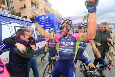 Foto courtesy: Team Lampre by Sirotti, Serpa Perez festeggia all'arrivo.