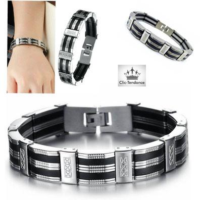 bracelet gravé Acier Inox et Silicone Noir