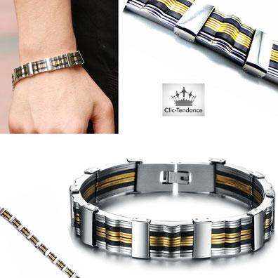 bracelet doré et argent pour lui
