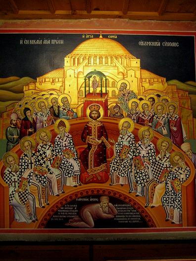 Konzil von Nicäa, mit Arius dargestellt unter den Füßen Kaisers Konstantin und der Bischöfe,Jjensen, Wikipedia