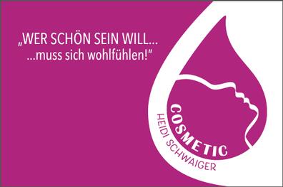 Visitenkarte Vorderseite, Cosmetic Heidi Schwaiger, Salzburg