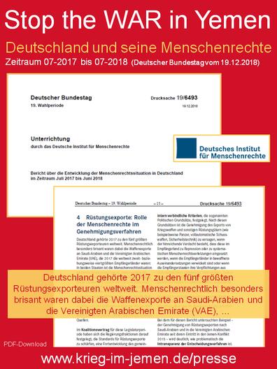 Deutschland und seine Menschenrechte Zeitraum 07-2017 bis 07-2018 (Deutscher Bundestag vom 19.12.2018)