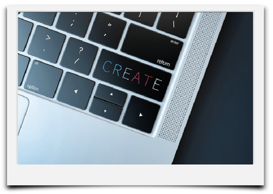 Bild mit Tastatur Laptop und dem Wort CREATE zum Thema der Unterseite Design und Grafik.