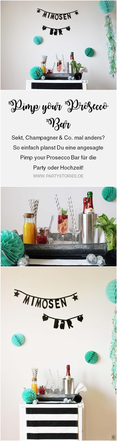 Ideen und Tipps für Sekt mal anders, als Sektbar oder Pimp-your-Prosecco Getränkestation für die Party und Hochzeit, gefunden auf Partystories.de