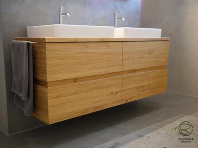 Waschtischunterschrank in Eiche massiv mit 4 Schubladen, umlaufend, integrierte Griffmulde