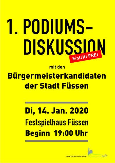PODIUMSDISKUSSION 2020 mit den Bürgermeisterkandidaten der Stadt Füssen...