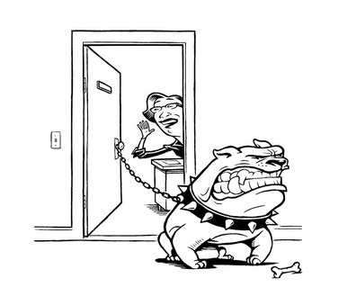 Lehrerin mit offener Tür und Kampfhund davor