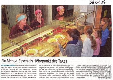 Zeitungsartikel Tagblatt Tübingen Mensa-Essen mit VIertklässlern der Schule Winkelwiese