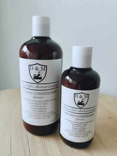DM4U-D&M-Natuurlijke-dierverzorging-honden-hond-puppy-pup-shampoo-conditioner-parfum-hondenshampoo-parabeen-vrij-PH-neutraal-vacht-huid-agrum-agrume-citrus-vruchten-korte-vacht-halflange-half-lange-ontwarrend-volume-glans-250ml-500ml