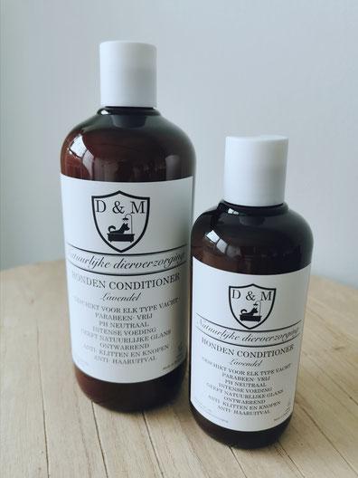 DM4U-D&M-Natuurlijke-dierverzorging-honden-hond-puppy-pup-shampoo-conditioner-parfum-hondenshampoo-parabeen-vrij-PH-neutraal-vacht-huid-Lavendel-kalmerend-korte-vacht-halflange-half-lange-ontwarrend-schilfers-haar-uitval-verlies-250ml-500ml