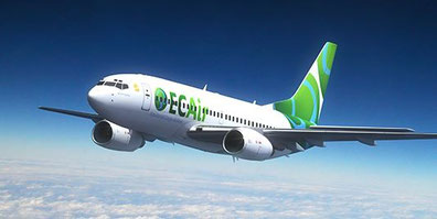 Boeing 737-300 painted in ECAir colors but operated by Private Air  /  source: ECAir
