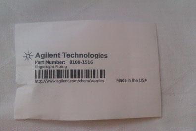 Agilent Technologies Fingertight Fitting Part Part No: 0100-1516