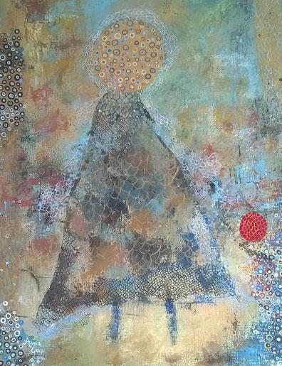 Jeune fille de mai, huile sur toile, 61 x 46