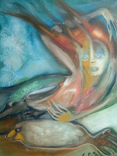 1. La Sirena,  Huile sur toile  50 x 40 cm.