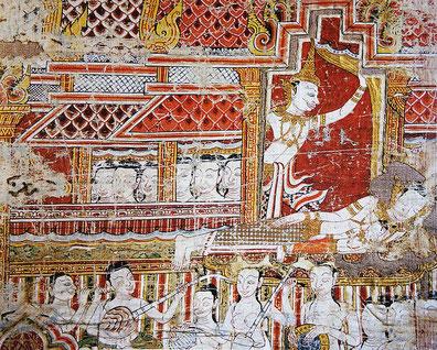 Phra Bot, tissu sacré. Fragment d'une bannière de coton peint. École d'Ayutthaya, probablement XVIIIe siècle. Ce détail représente le grand départ du prince Siddhartha de son palais. © Maison de Jim Thompson. Bangkok.