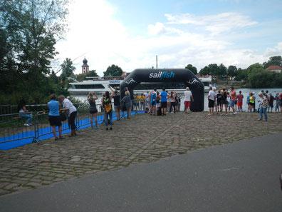 Schwimmausstieg beim 23. Ladenburger Triathlonfestival. Foto: Frei/ Alexander Heinrich