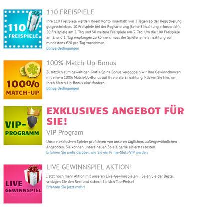 Aktionen im PrimeSlots Online Casino