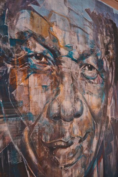 Wandportrait von Nelson Mandela In Kapstadt