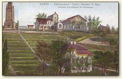 Gubener Weinberg mit Terassierung und Restaurant Tivoli, Lausitzer Weinfreunde