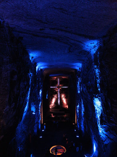 The catedral is built in a salt mine.