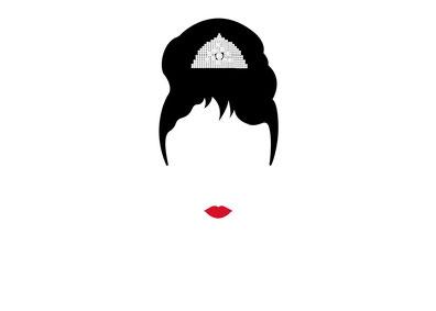 Frauengesicht ohne Augen mit einem roten Mund und einem Diadem in schwarzem, hochgesteckten Haar.