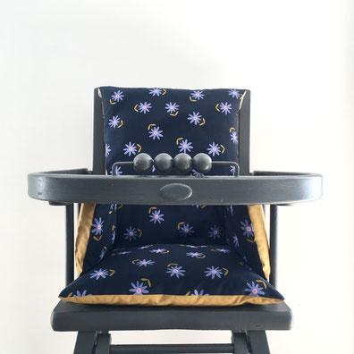 Coussin de chaise haute Louis couleur bleu nuit et curry