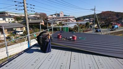 立平葺き 施工画像 カラーガルバリュウム鋼板