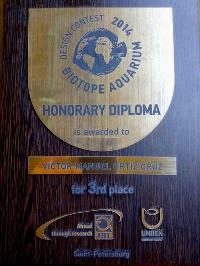 Reconocimiento por el Tercer Lugar mundial en Rusia.