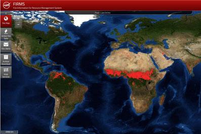 Aktuelle NASA-Waldbrandkarte (klickbar)