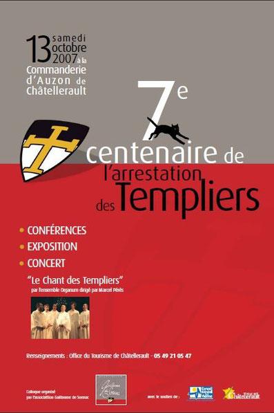 Affiche du septième centenaire de l'arrestation des templiers colloque de l'assiciation Guillaume de Sonnac 2007