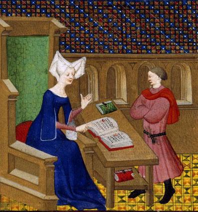 Christine de Pizan, una escritora medieval que al enviudar sacó adelante a su familia publicando libros y difundiéndolos.