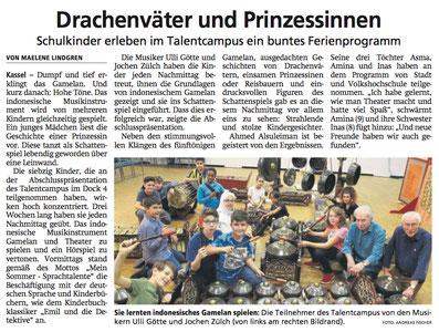 Artikel: Ulli Götte & Jochen Zülch mit Gamelan & Schattenspiel beim Talentcampus 2019 Kassel