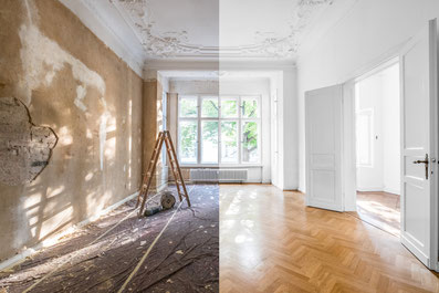 Woonkamer before and after