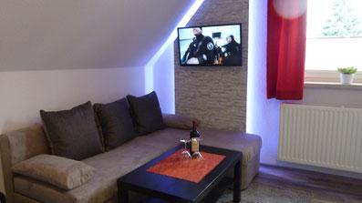 Gästehaus Erle Apartment Fellhorn Couch Ansicht
