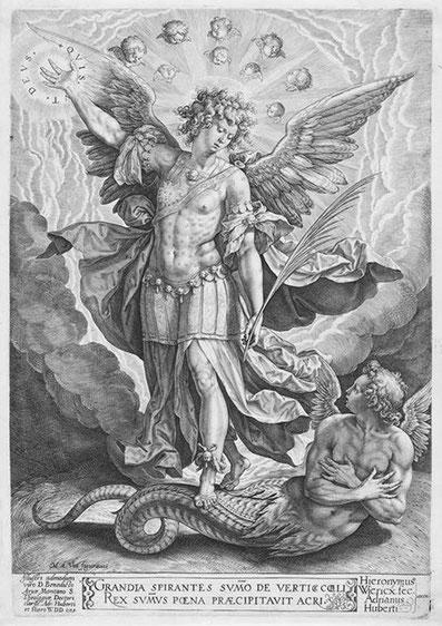 Hieronymus Wierix 1553–1619 Erzengel Michael und der Drachen. 1584. Kupferstich 30 x 21,4 cm. Chicago, Art Institute