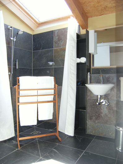 barrierefree showerroom with brasilian slates