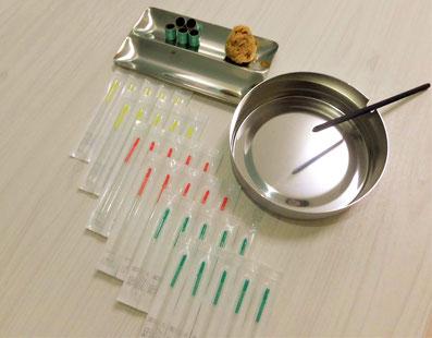 鍼灸マッサージ治療で使う道具の写真