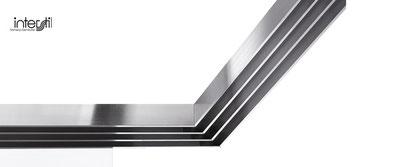 Flächenvorhang über Eck, Flächenvorhangschiene auf Gehrung geschnitten, Flächenvorhänge für Eckfenster